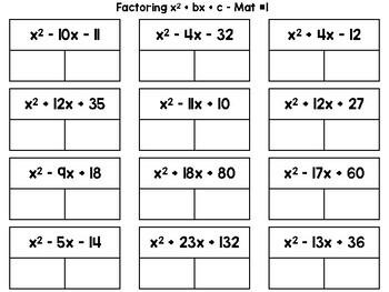 Algebra 1 - Factoring Trinomials x^2 + bx + c Task Card Puzzle Mats - Set of 4
