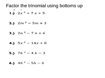 Algebra 1: Factoring a Trinomial using Bottoms Up