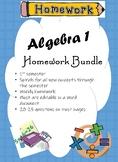 Algebra 1 Fall Spiraled semester Homework Bundle