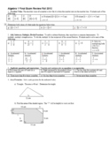 Algebra 1 Final Exam Review: Fall 2012 with Answer Key (Editable)