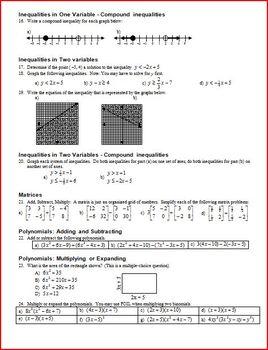 Algebra 1 Final Exam Review: Spring 2011 (Editable)