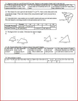 Algebra 1 Final Exam Review Study Guide Spring 2008 (Editable)