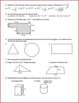 Algebra 1 Final Exam Review Study Guide Spring 2009 (Editable)