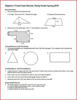 Algebra 1 Final Exam Review Study Guide: Spring 2010