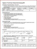 Algebra 1 Final Exam Review Study Guide: Spring 2011 (Editable)