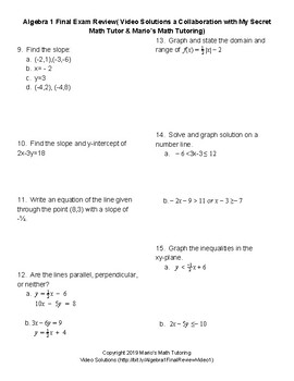 Algebra 1 Final Exam Review (With Video Solutions) by