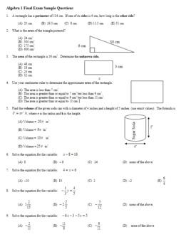 Algebra 1 Final Exam Sample Multiple Choice Questions (Editable)