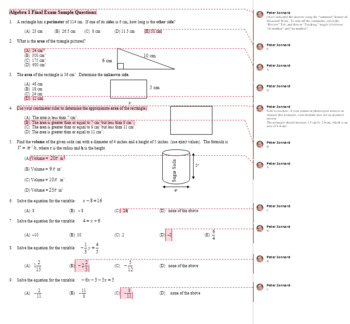 Algebra 1 Final Exam Sample Multiple Choice Questions with Key (Editable)