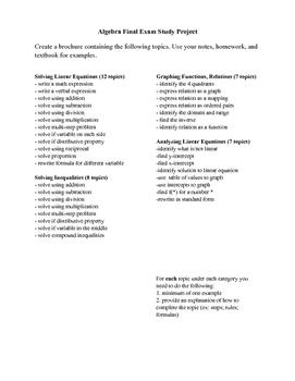 Algebra 1 Final Review Project (Semester 1)