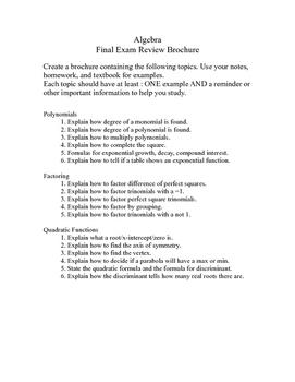 Algebra 1 Final Review Project (Semester 2)