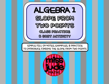 Algebra 1 Finding Slope from Two Points: Slope Formula Pra
