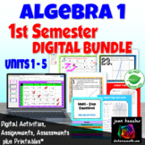 Algebra 1 First Semester Digital Bundle Distance Learning
