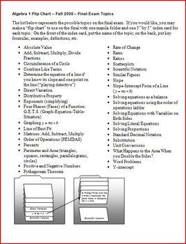 Algebra 1 Flip Chart Final Exam Topics Fall 2008 (Editable)