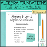 Algebra 1 Foundations Full, Differentiated Unit WITH ACTIV