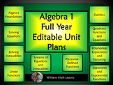Algebra 1 Full Year Editable Unit Plans (Bundled) - Aligned for Common Core