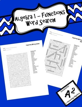 Algebra 1 - Functions Word Search