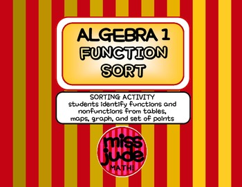 Algebra 1 Functions sort: Identifying from tables, graphs, maps, & point sets