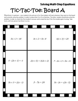 Alg 1 Solving Equations Activity {Algebra Games} {Algebra 1 & 2 Games}