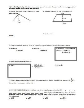 Algebra 1 Geometry Quiz Spring 2009 two versions with honors question (Editable)