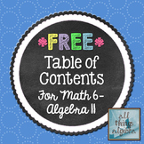 Math 6: Algebra II Table of Contents