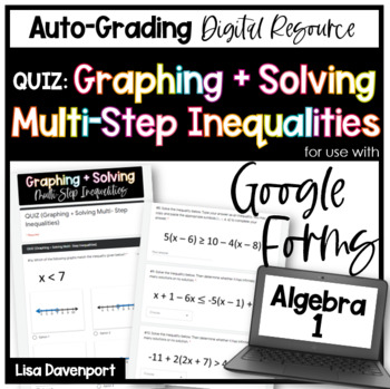 Multi-Step Inequalities QUIZ- Digital Assessment for use with Google Forms