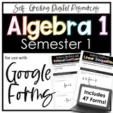 Algebra 1 Google Forms Semester 1 Digital Homework + Assessment Bundle