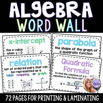 Algebra 1 & Middle School Math Word Wall Posters - Set of 72 Words