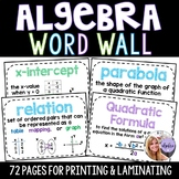 Algebra 1 & Middle School Math Word Wall Posters - Set of