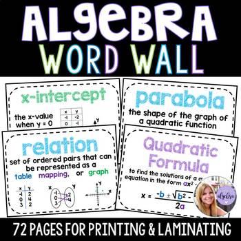 Algebra 1 / Grade 8 Math Word Wall Posters - Set of 40!
