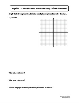 Graph Linear Functions Using Tables (Lesson Plan with Homework)