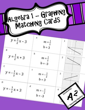 Algebra 1 - Graphing Matching Cards