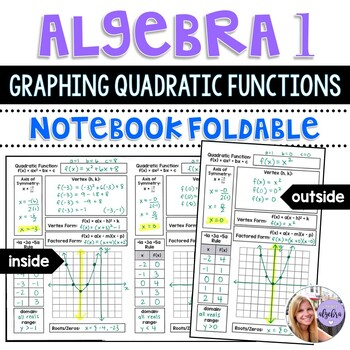 Algebra 1 - Graphing Quadratic Functions, Axis of Symmetry, Vertex - Foldable