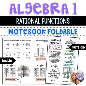 Algebra 1 - Graphing Rational Functions and Asymptotes Foldable