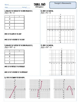 Algebra 1 Graphing Warm Up/Homework