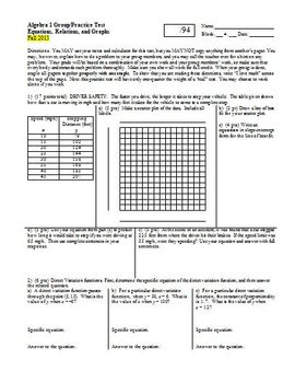 Algebra 1 Group Practice Test Equations Relations and Grap