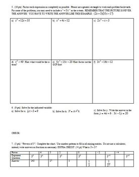 Algebra 1 Group Practice Test: Fractions Exponents Factoring Spring 2009