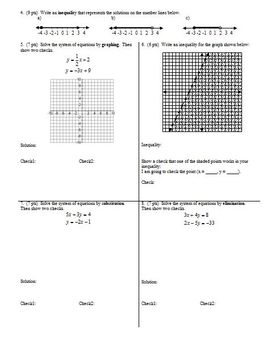 Algebra 1 Group Practice Test Inequalities and Systems (Editable)