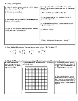 Algebra 1 Group Practice Test: Linear Functions and Relations Fall 2010