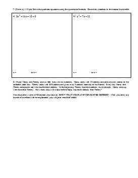 Algebra 1 Group Practice Test Polynomials Quadratics and Factoring Spring 2010
