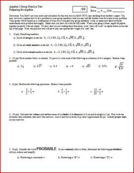 Algebra 1 Group Practice Test Preparing for Algebra (Editable)