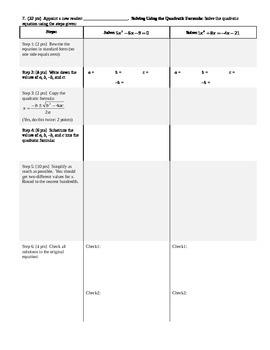 Algebra 1 Group Practice Test Quadratics and Polynomials Spring 2014 (Editable)