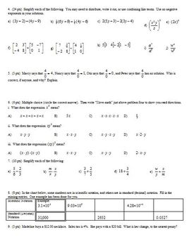 Algebra 1 Group/Practice Test: Equations and Expressions (Editable)