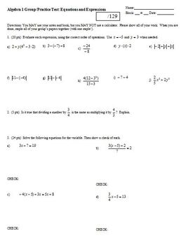 Algebra 1 Group/Practice Test: Equations and Expressions