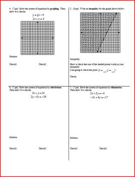 Algebra 1 Group/Practice Test: Inequalities and Systems Spring 2010 (Editable)