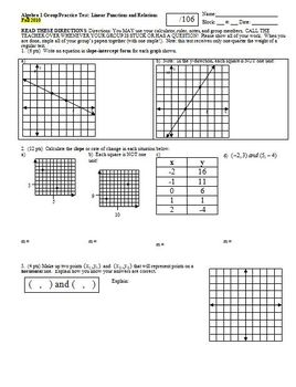 Algebra 1 Group/Practice Test: Linear Functions and Relations Fall 2010