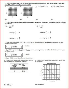 Algebra 1 Group/Practice Test: Linear Graphs; two versions