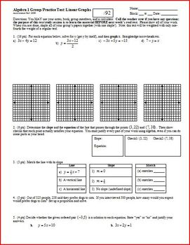 Algebra 1 Group/Practice Test: Linear Graphs; two versions (Editable)