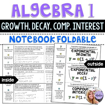 Algebra 1 - Growth and Decay Exponential Function - Foldable