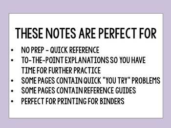 Algebra 1 - Guided Reference NO PREP Notes - 2nd Half of the Year BUNDLE