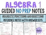 Algebra 1 - Guided Reference NO PREP Notes - Quadratic Functions and Equations
